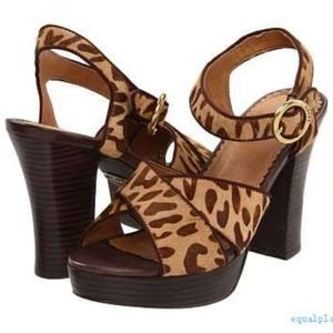 NWT Fossil Women's Ramona Hair Calf Leopard Sandal